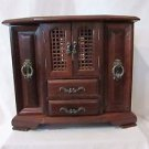 Vintage Large Wood Jewelry Case Lattice doors, two hidden pullout London Leather