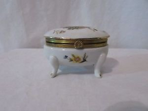 Vintage Hand Painted Napcoware Porcelain Trinket  Footed Jewelry Box Floral