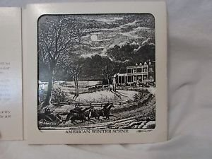 TILE Trivet Currier & Ives Galaxy Collection American Winter Scene & Box