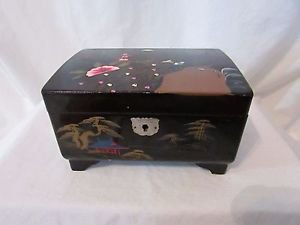 Vintage Asian  Black Lacquer Mirrored Jewelry Box