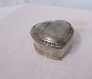 Vintage Silver Plated Trinket Jewelry Box Medal Beaded Heart Red Felt Lined