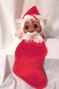Vintage Troll Elf Santa Christmas Stocking Norfin 1980's By Smithy Company
