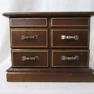 Vintage  Wooden Jewelry Box Musical open top with  mirror