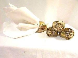 4 Vtg Jewelry Accented Hammered Brass Napkin Rings Reclaimed RePurposed Handmade