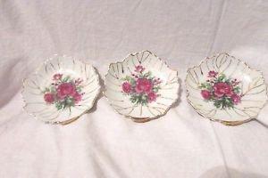 Set of 3 Porcelain Dishes Floral Rose Flower Leaf shape Gold Trim Trinket