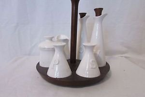 Vintage Lazy Susan Cruet Condiment Set 10 Piece Napcoware Napco  Ceramic Wood