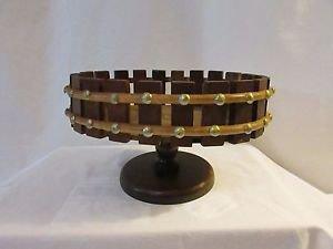 Vintage Wood Oval Nut Bowl Basket On Pedestal