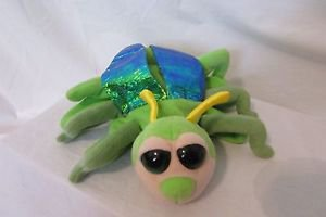 """Green Beetle Bug Hand Puppet Iridescent Wings Caltoy 9"""" Insect Plush Big Eyed"""