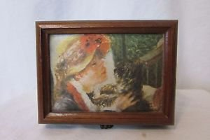 Vintage Linden Wood Jewelry Music Box Plays 2 Songs Silk Picture on The Top Rare