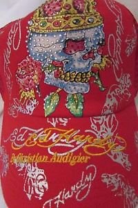Ed Hardy Trucker Snapback Ball Cap Red With Skull,Crown, and Rhinestones  NWT