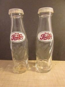 Vintage Miniature Pepsi   Cola Bottle Salt And Pepper Shakers Glass Advertising