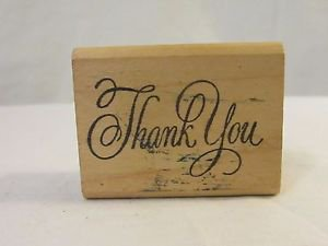 "Rubber Stamp ""Thank You""  Wood Mount RUBBER STAMP Small New Scrap Booking"