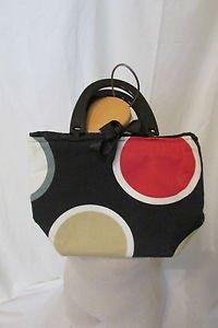 Canvas Purse Hand Bag Bold Colors Circles Bow Tie Closure CUTE Preppy