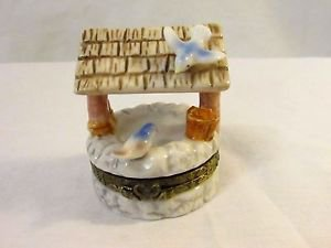 """Herco Water Well with Birds Trinket Box From My Hinged Box Collection 2 1/4"""""""