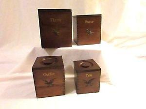 Vintage Giftwood  Canisters Set 4 pieces Nesting Set Eagle Emblem 60's 70's Ret