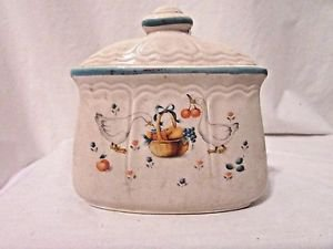 Vintage Country Style Ceramic Napkin Holder White Ducks Basket Fruit Japan