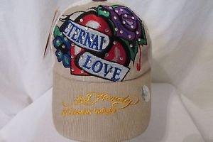 Ed Hardy Trucker Snapback Hat Ball Cap Eternal Love With Roses Rhinestones NEW