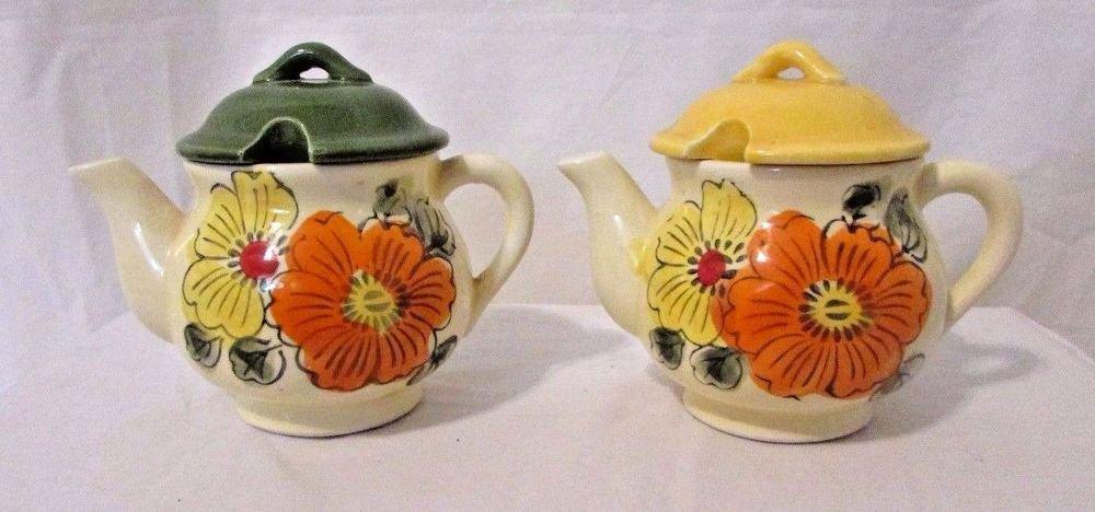 Vintage Set Jelly Jam Condiment Honey Pot Jars  Japan Floral Teapots