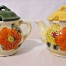 Vintage Set Jelly Jam Condiment Honey Pot Jars  Japan Floral Teapots