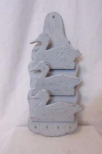 Vintage 3 Ducks Wood Key Letter Mail Holder 4 Hooks Wall Hanging Hand Painted