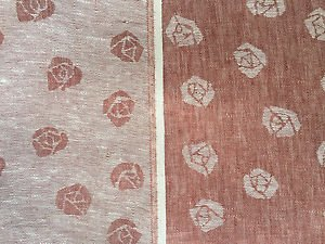 """60"""" Red & White Inverse Double Sided Rose 100% Linen Fabric By the Yard"""