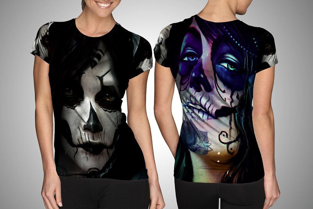 Sugar Skull Kloter T-shirt FullPrint For Woman Size S