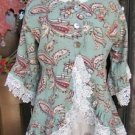 Ladies Blue Green Paisley Linen 3/4 sleeve jacket top