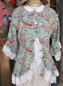 Ladies Blue Green Paisley Linen 3/4 sleeve jacket top