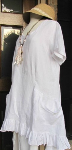 Classy Sassy Couture brand Ladies 100% white linen short sleeve ruffle dress