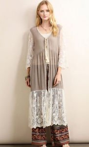 Ladies Mocha Long lace cardigan