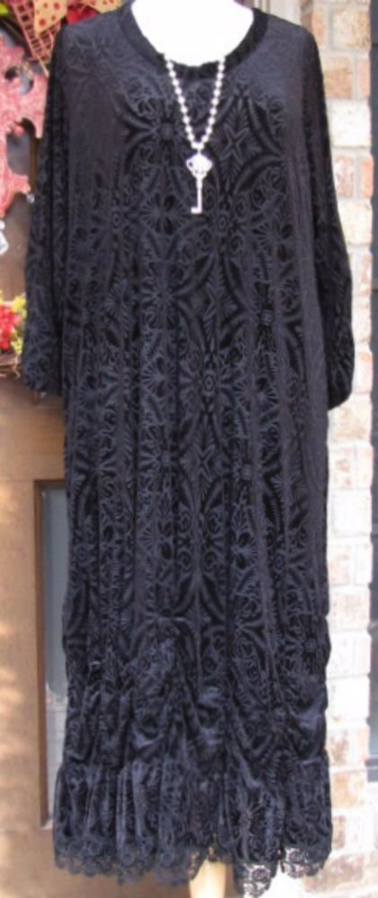 Sassy Rags brand Ladies black burnout velvet maxi dress