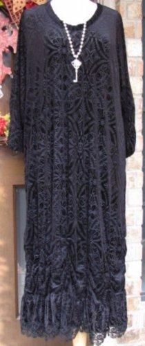 Sassy Rags brand Ladies black burnout velvet maxi dress