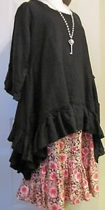Sassy Rags Ladies Large 100% black linen ruffle bottom top