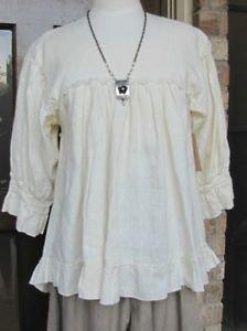 Ladies 3/4 sleeve pale yellow linen ruffle peasant top