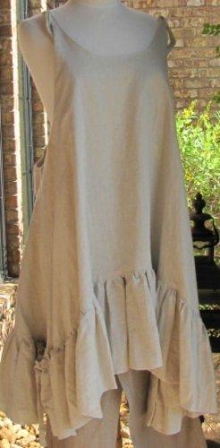 Ladies Sleeveless solid beige 100% linen ruffle jumper-SALE