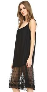 Ladies long black cotton and lace layering slip
