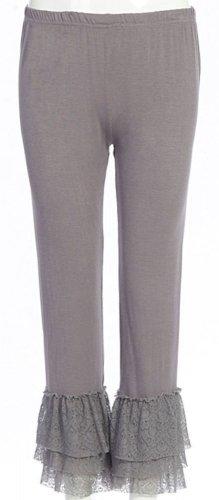 Sassy Bling long grey leggings with lace bottom