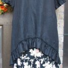 Sassy Rags ladies 100%  Black Linen Rebekah HiLo Ruffle Top