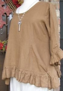 Sassy Rags by Classy Sassy Couture ladies linen 3/4 sleeve ruffle Rosie top