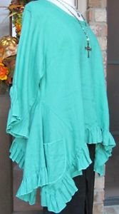 Sassy Rags Dark Turquoise Ladies XS-XXL 100% linen ruffle Olivia top