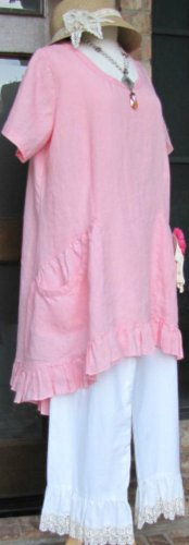 Classy Sassy Couture brand Ladies 100% pink linen short sleeve ruffle dress