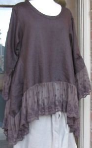 Sassy Rags chocolate brown 100% linen Plus Size ruffle top with mesh lace