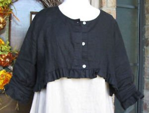 Classy Sassy Couture Ladies casual black100% linen button shrug topper