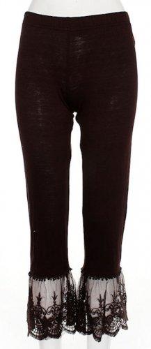 Sassy Bling capri length chocolate brown leggings with lace bottom