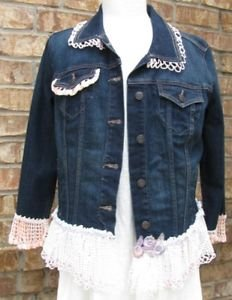 Ladies Large denim embellished jean jacket-Final Sale