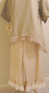 Classy Sassy Couture cream and gold ankle length cotton ruffle bloomer pants