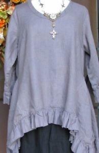 Sassy Rags Dark Grey Ladies XS-XXL 100% linen ruffle Olivia top
