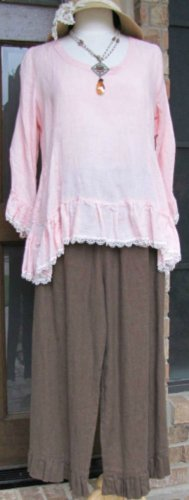 Hearts Desire by Mary Grace brown100% linen ruffle bottom pants