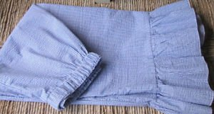 Classy Sassy Couture ladies blue and white cotton seersucker bloomer pants-SALE