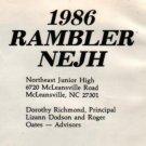 1986 Northeast Jr Junior High School Rambler Yearbook Mcleansville North Carolina